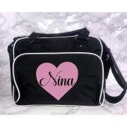 heart changing bag black