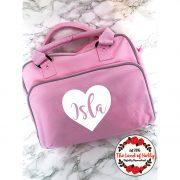 heart changing bag pink